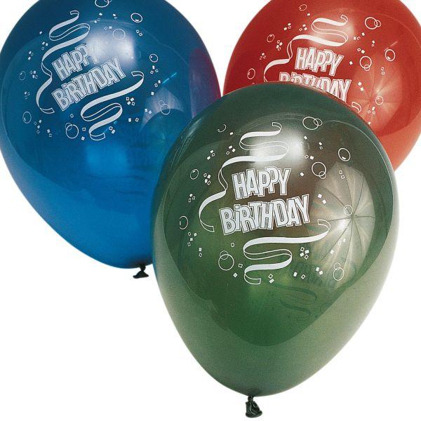 Luftballons Happy Birthday, kristall, bunte Mischung