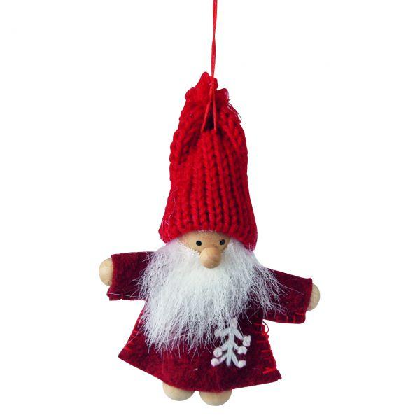 Anhänger Weihnachtsmann, Strick rot-weiß