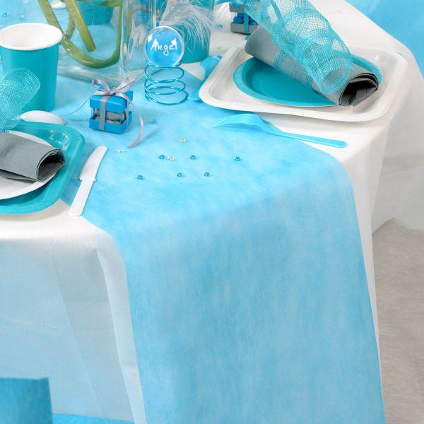 Tischläufer B: 30cm x 10m, blau-türkis