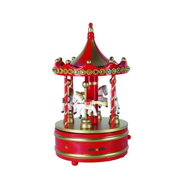 Spieluhr Karussell, rot-gold