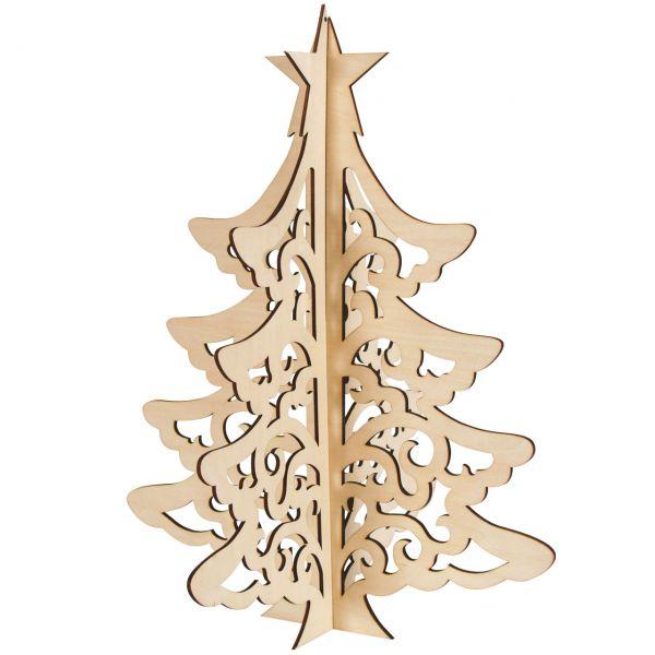Deko-Tannenbaum 3D, Holz natur, gelasert, 50 cm