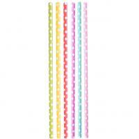 Papier Trinkhalme 0,6 x 20cm, Punkte farbig gemischt