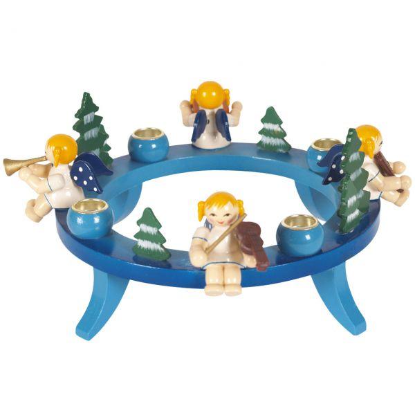 Kerzenhalter Engel-Kapelle Holzring, blau
