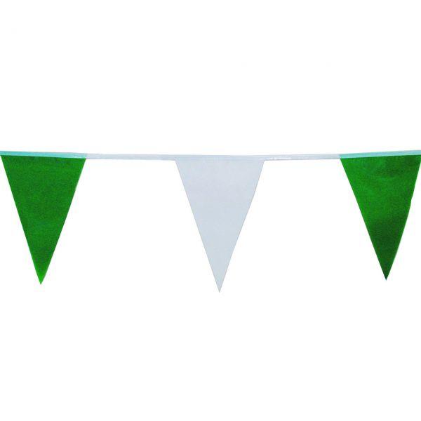Maxi Wimpelkette 20m wetterfest, grün-weiß