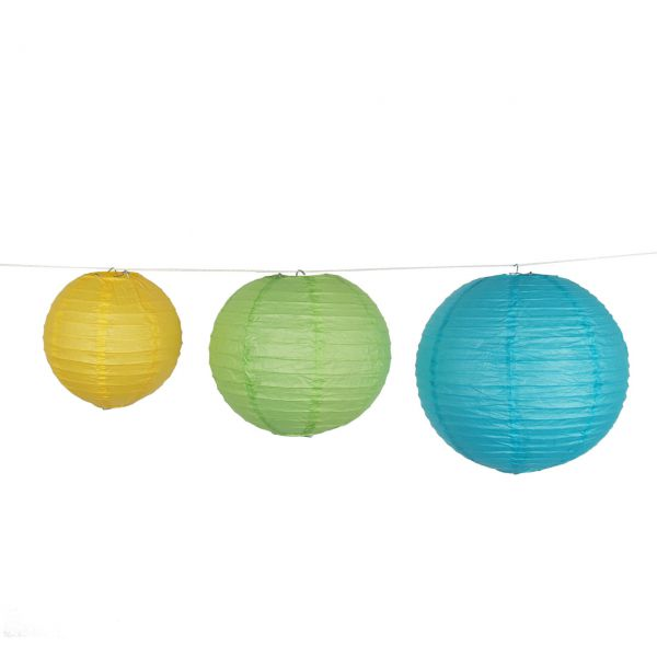 Deko-Lampions, grün-gelb-blau