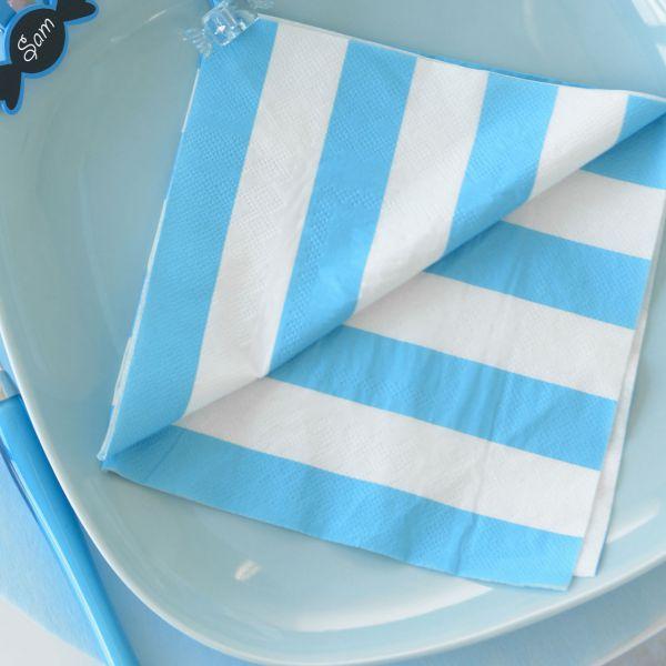 Servietten weiße Streifen, blau-türkis