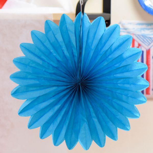 Deko-Fächer uni, blau-türkis