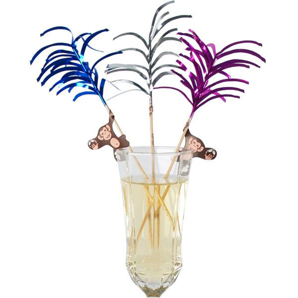 Party-Picker Palme mit Affe, metallic-bunt