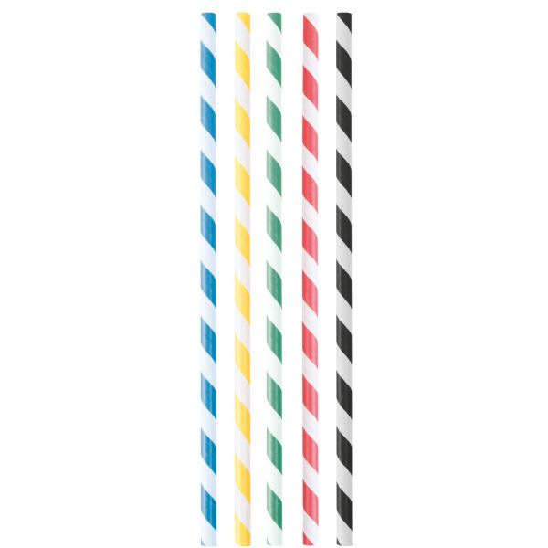 Papier Trinkhalme 0,6 x 20cm, Streifen farbig gemischt