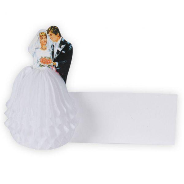 Tischkarten Hochzeitspaar, weiß-schwarz