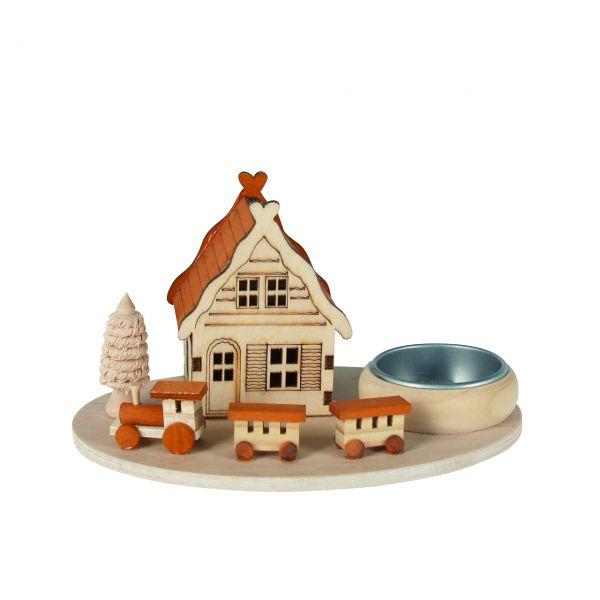 Teelicht-Halter Haus und Eisenbahn