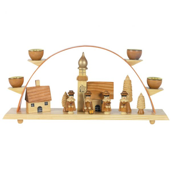 Schwibbogen Kurrendesänger vor Kirche, natur Kerzen