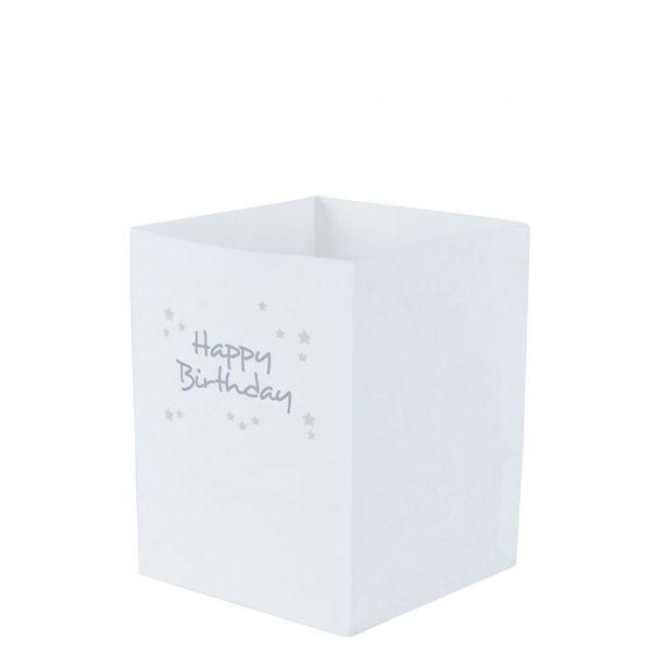 Lichtertüten Happy Birthday mit Sternen, silber