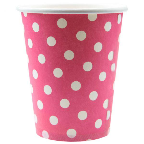 Papp-Trinkbecher weiße Punkte, pink