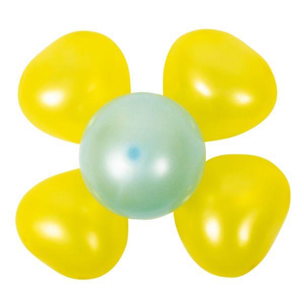 Luftballon Dekoset 2 Blumen, gelb-grün
