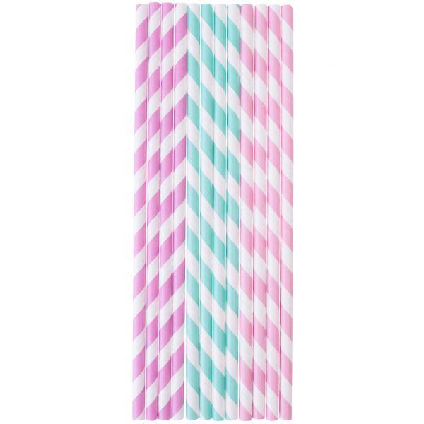 Papier Trinkhalme 0,6 x 20cm, Streifen rosa, hellblau, flieder