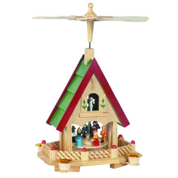 Weihnachts-Pyramide in Hausform Krippenszene, farbig