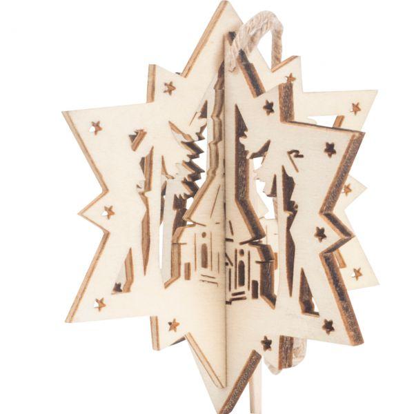 Anhänger 3D Stern, Holz, Kirche