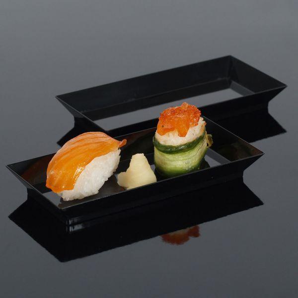 Fingerfood Buffet-Miniteller, rechteckig, schwarz