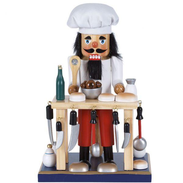 Nussknacker Koch mit Tisch 25cm, weiß
