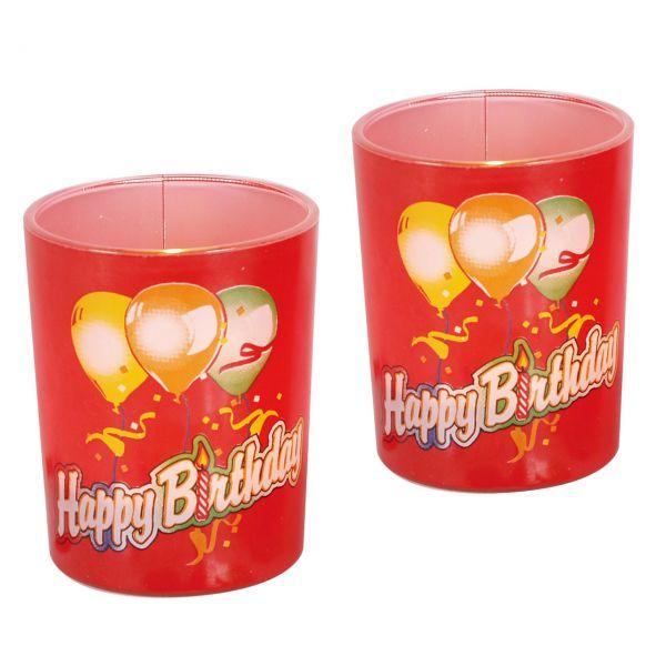Teelichtgläser Happy Birthday, rot-bunt