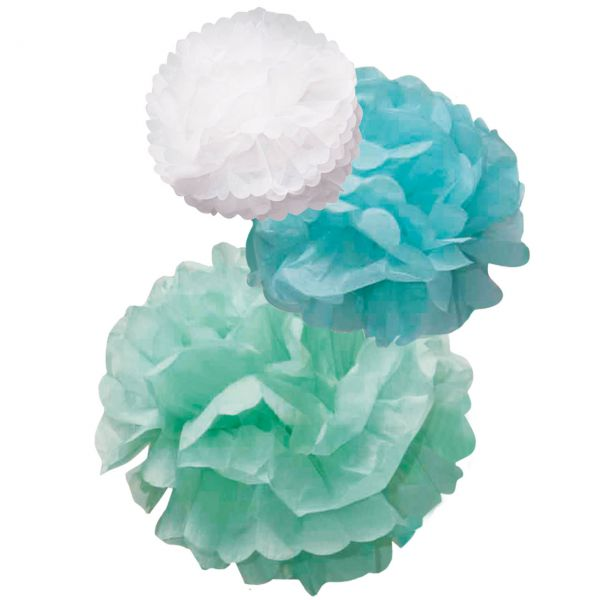 Pompom-Set, Papier, weiß-hellmint-mint