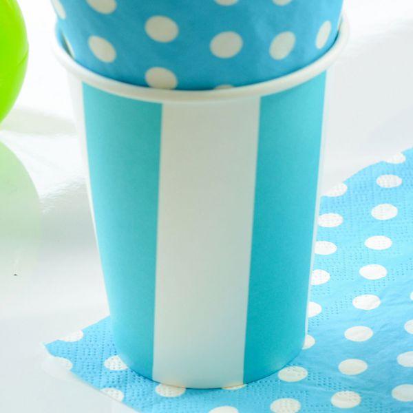 Papp-Trinkbecher weiße Streifen, blau-türkis