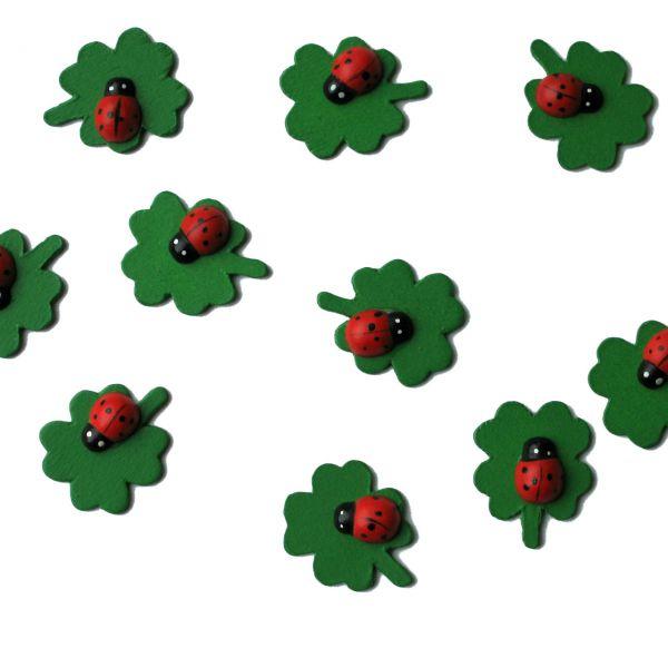 Streudeko Holz-Konfetti Klee mit Marienkäfer, grün-rot-schwarz