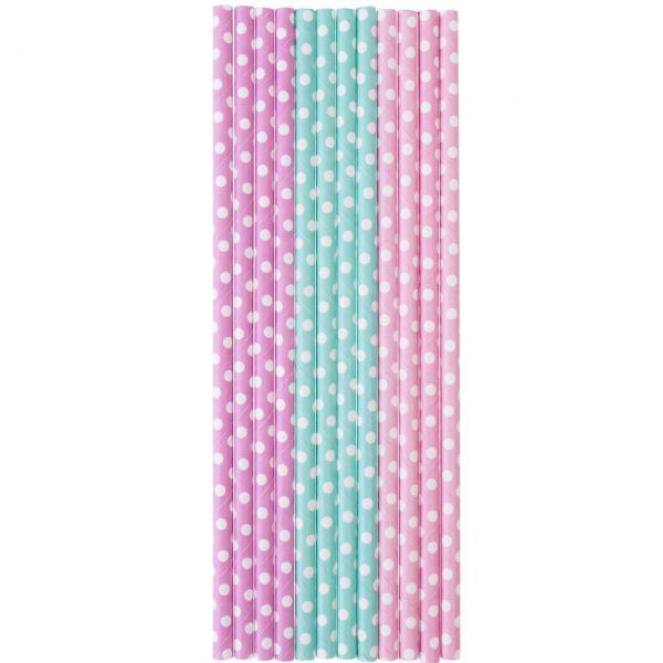 Papier Trinkhalme 0,6 x 20cm, Punkte rosa, hellblau, flieder