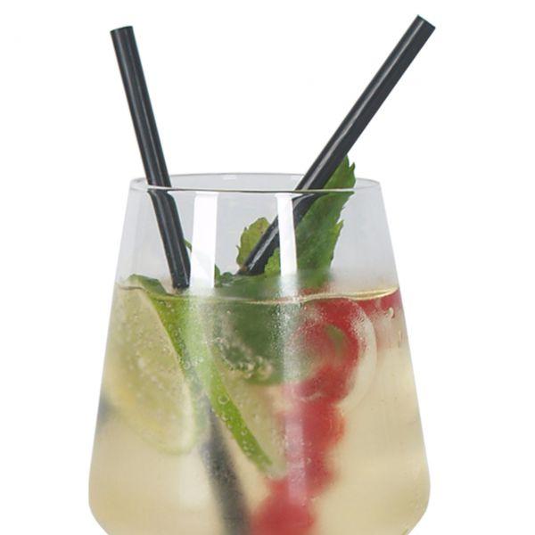 Jumbo Cocktail Strohhalme kurz, schwarz