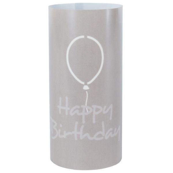 Windlicht Happy Birthday Ballon, sanddunkel