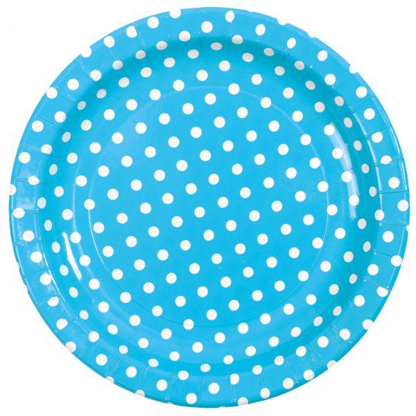 Pappteller weiße Punkte, blau-türkis