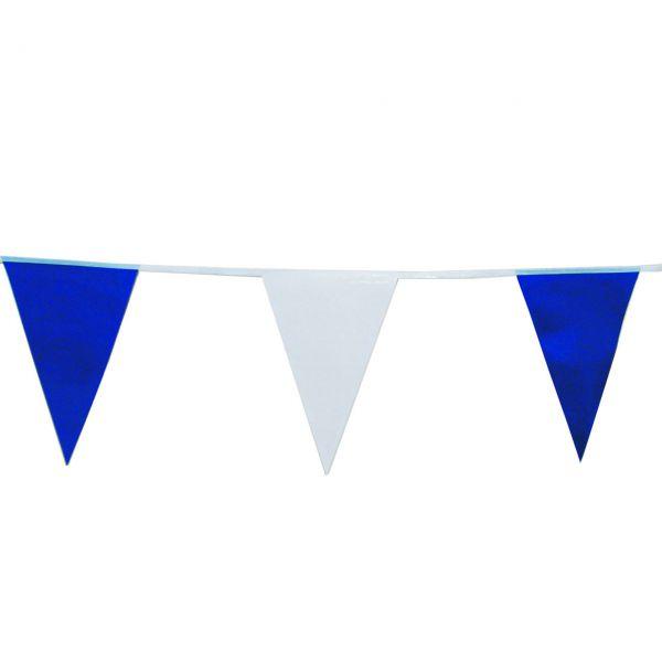 Wimpelkette wetterfest, 4m, weiß-blau