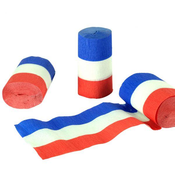 Kreppband, weiß-blau-rot
