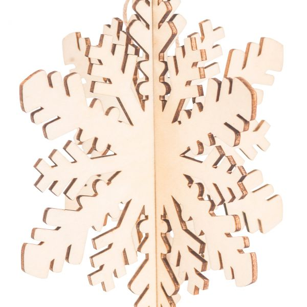 Anhänger Holz gelasert, 3D Schneeflocke E