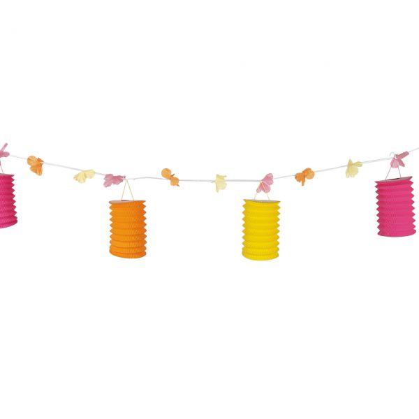 "Girlande ""Lampions"", gelb-orange-pink"