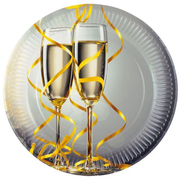 Pappteller Champagner, schwarz-weiß-gold