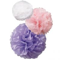 Pompom-Set, Papier, weiß-rosa-flieder Ø ca. 25 cm