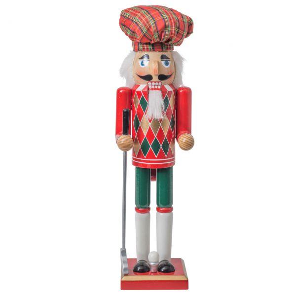 Nussknacker schottischer Golfspieler 38cm, rot-grün