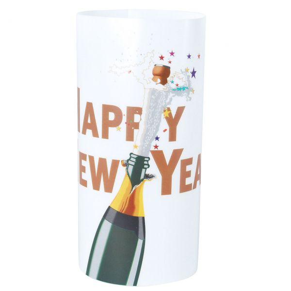 Windlicht Happy New Year Champagner, bunt