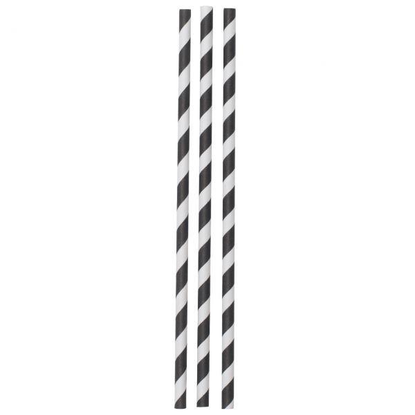 Jumbo Papier Strohhalme Streifen, schwarz-weiß
