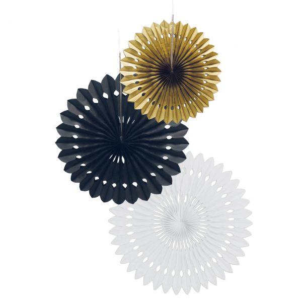 Deko-Fächer-Set, schwarz-weiß-gold