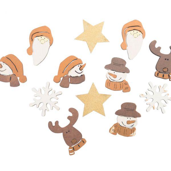 Streudeko Tischkonfetti Weihnachten gemischt, Holz
