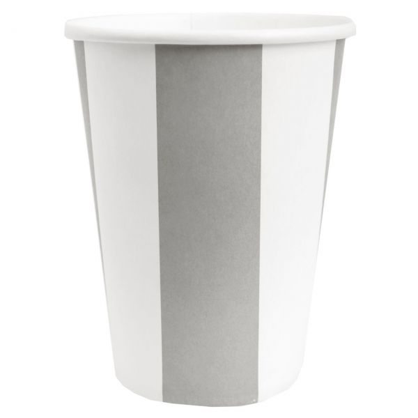 Papp-Trinkbecher weiße Streifen, grau