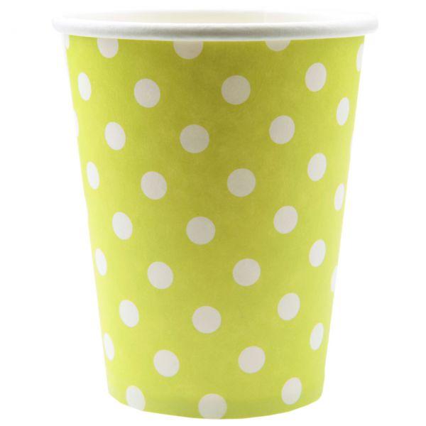 Papp-Trinkbecher weiße Punkte, grün