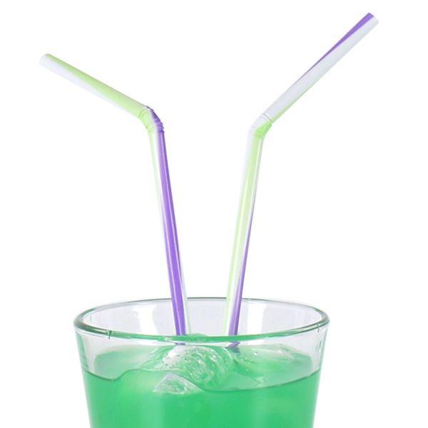 Knick-Strohhalm, grün-lila-weiß
