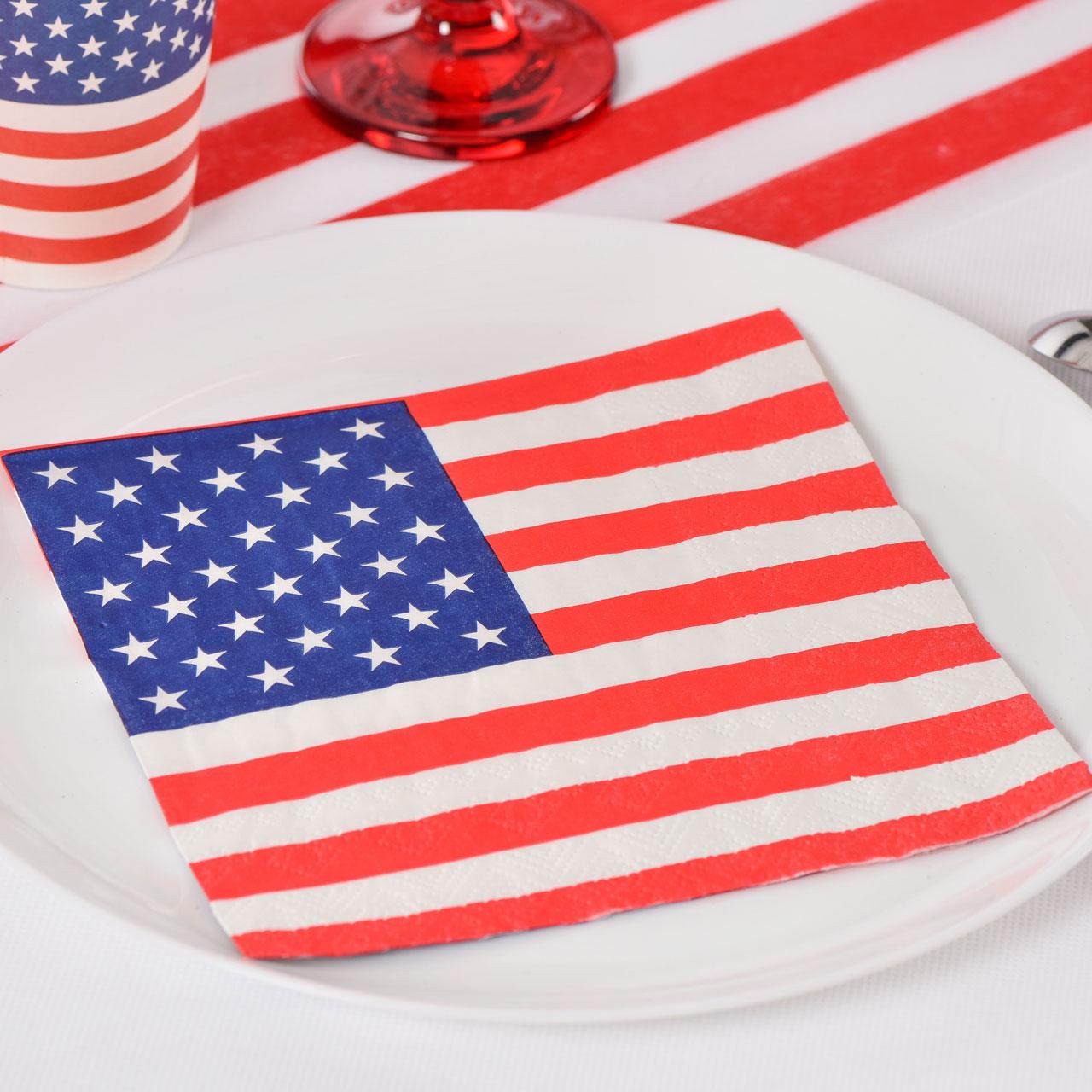 Servietten USA, Stars´n Stripes, Blau-weiß-rot