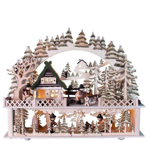 Doppelter Schwibbogen Holzfäller Hütte mit Erhöhung, LED