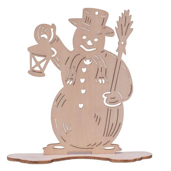 Weihnachts-Deko Figur Schneemann, Holz natur gelasert