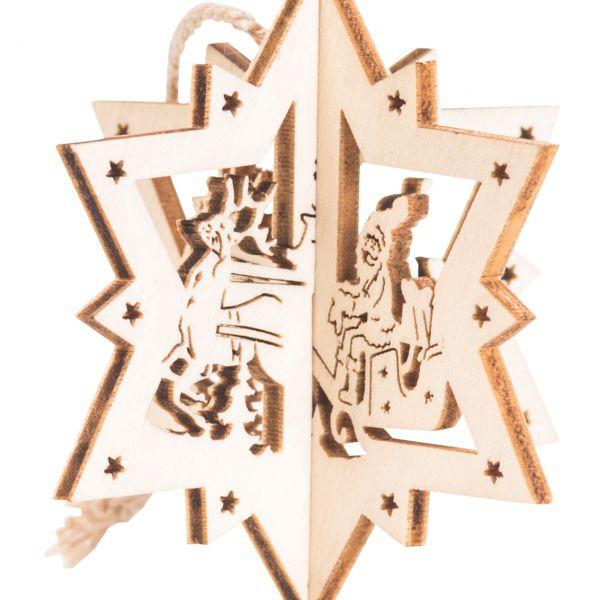 Anhänger 3D Stern, Holz, Santa auf Schlitten